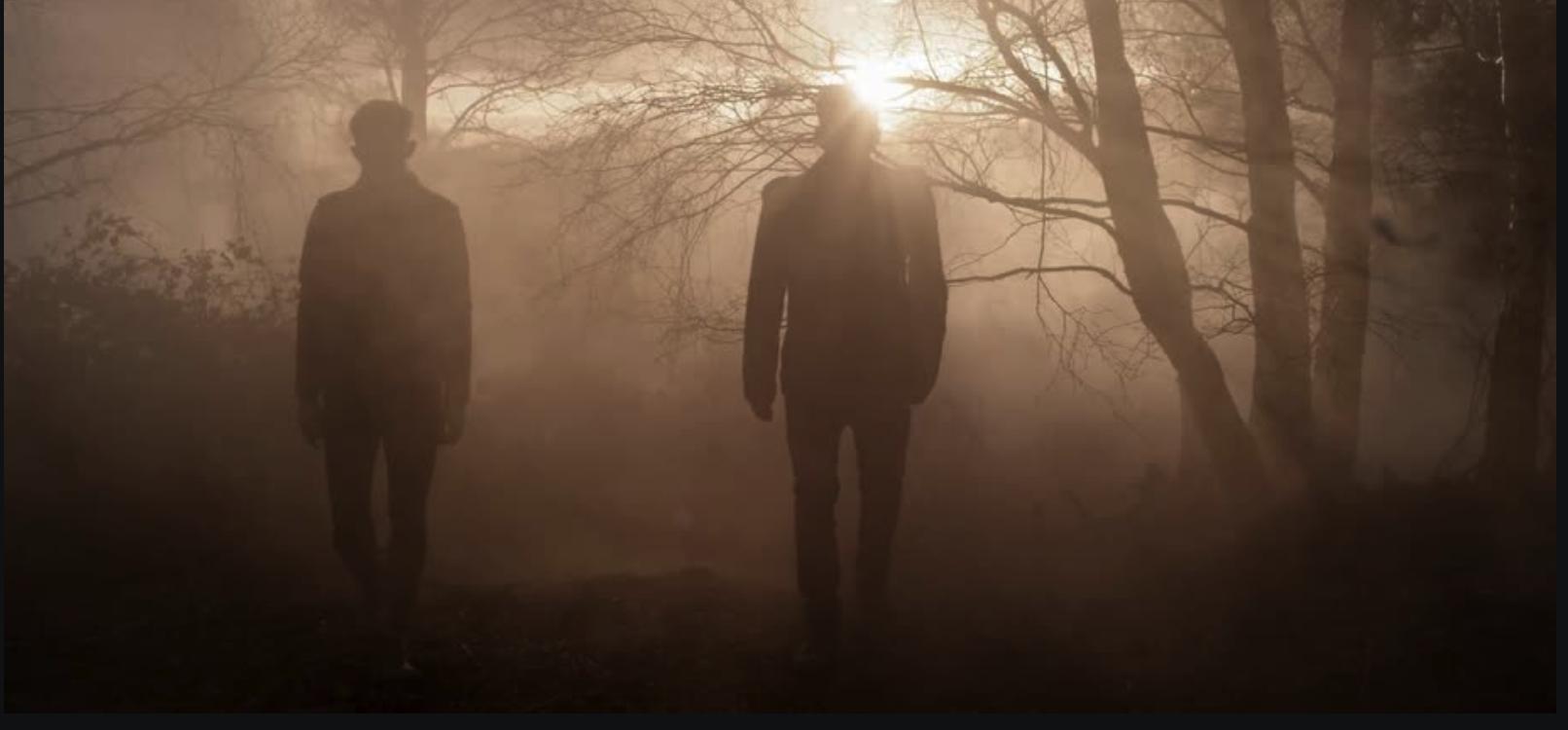 Two men in field foggy